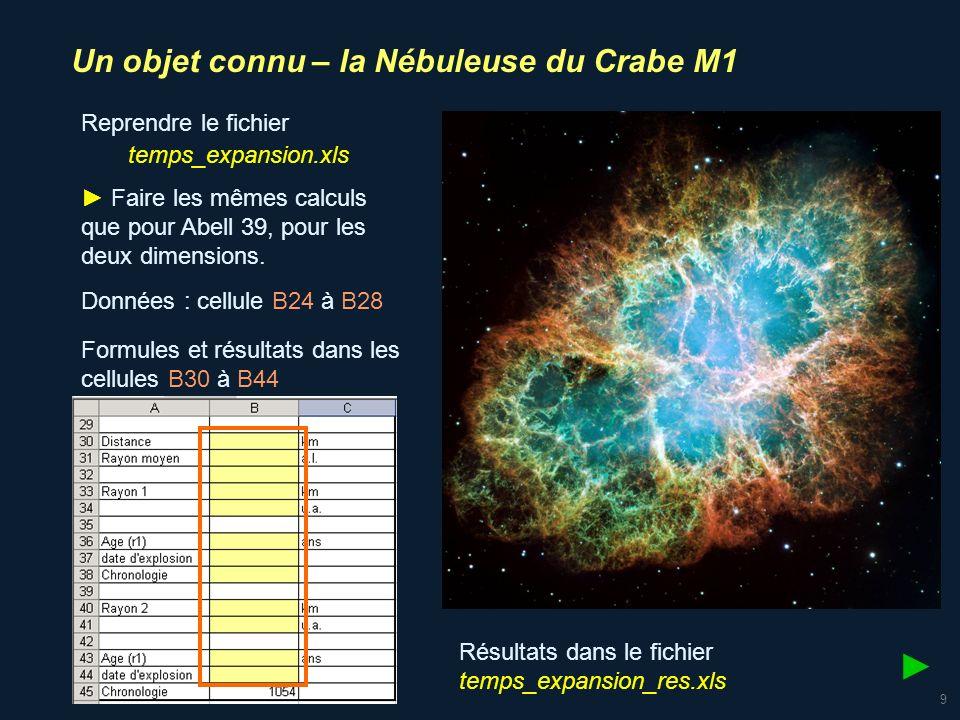► Un objet connu – la Nébuleuse du Crabe M1 Reprendre le fichier