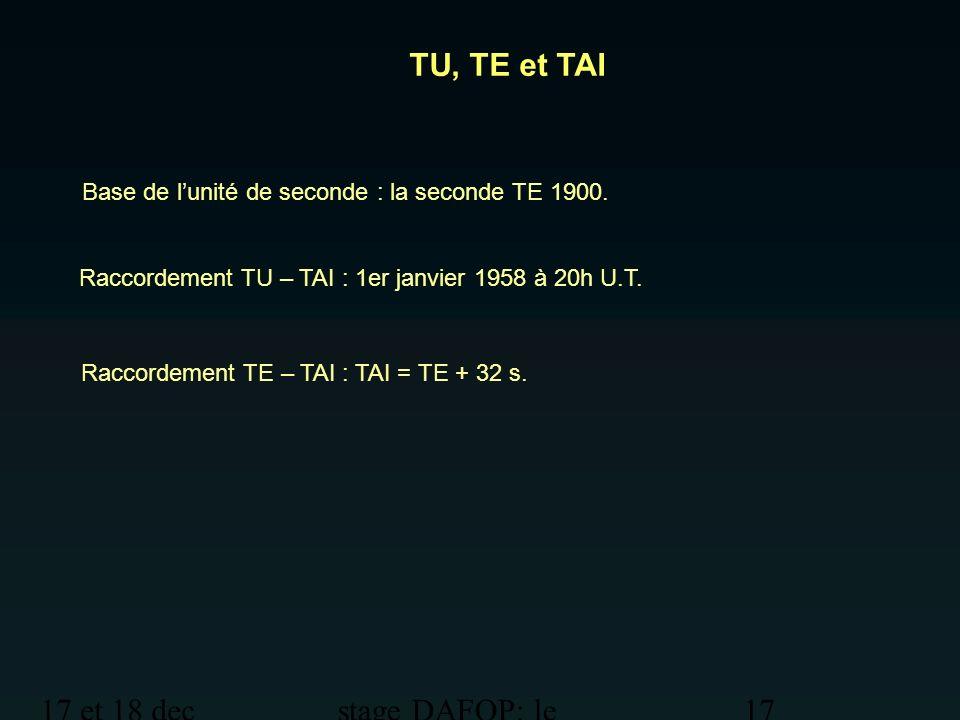 TU, TE et TAI 17 et 18 dec 2012 stage DAFOP: le temps