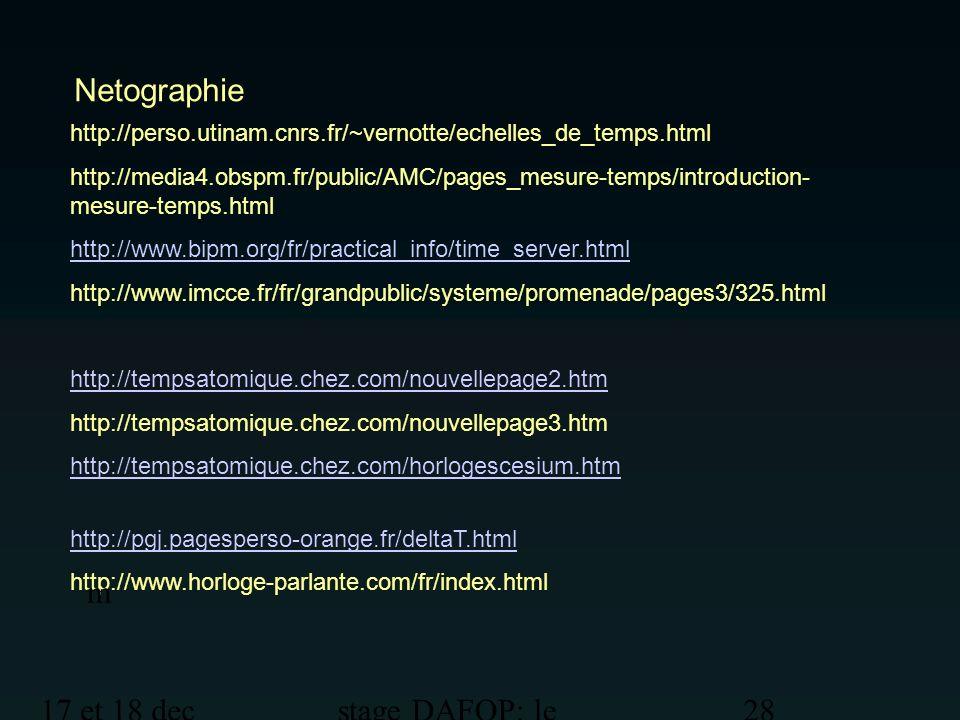 Netographie m 17 et 18 dec 2012 stage DAFOP: le temps