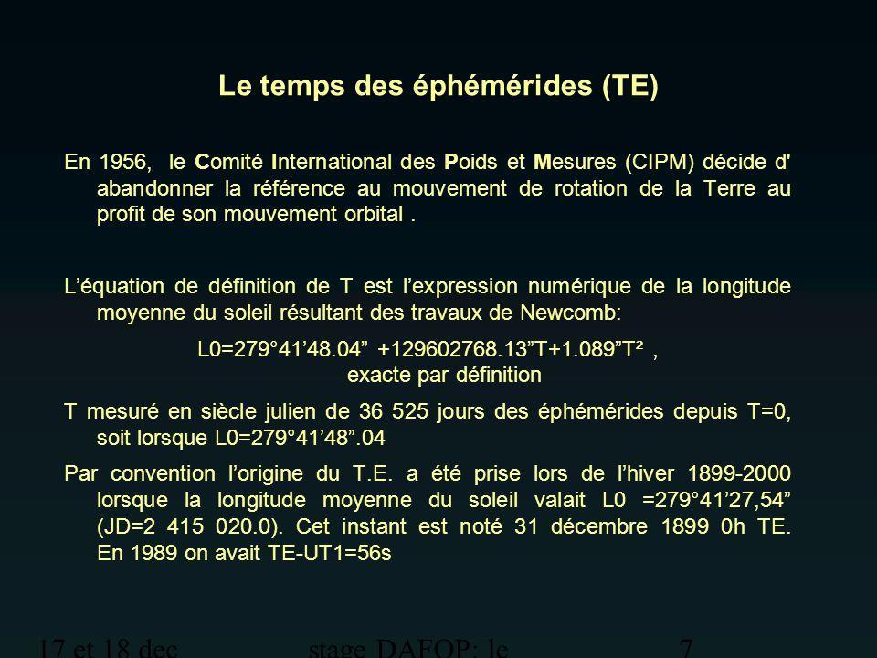 Le temps des éphémérides (TE)