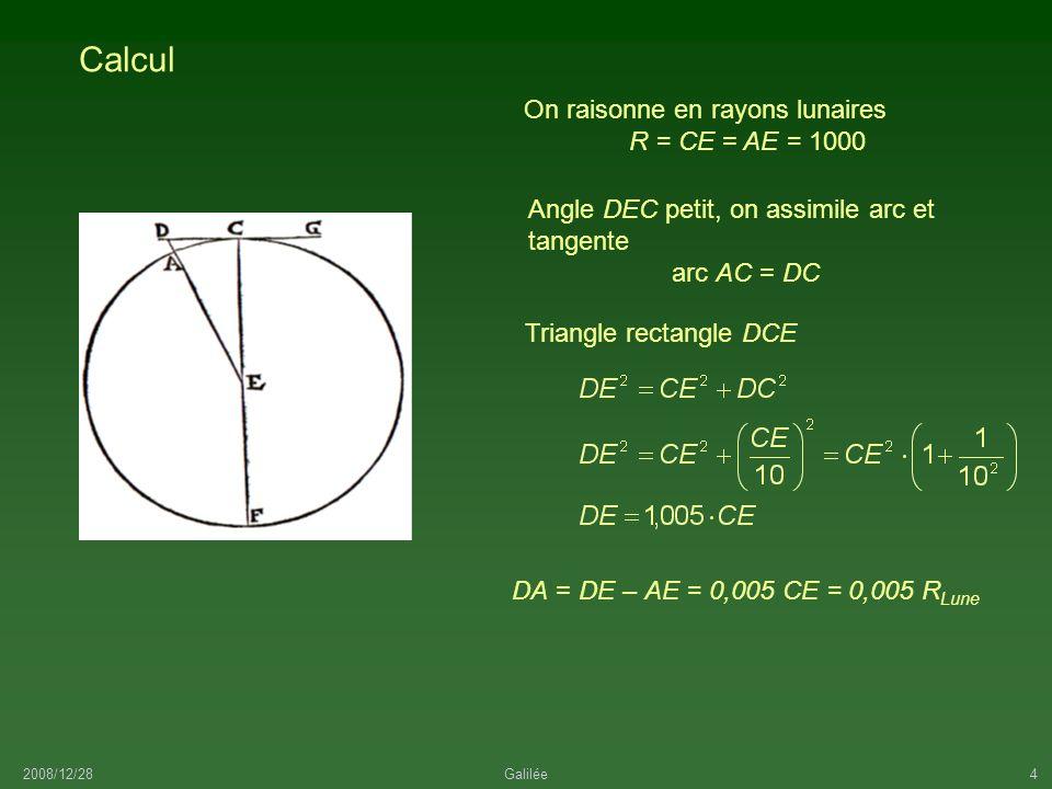 Calcul On raisonne en rayons lunaires R = CE = AE = 1000