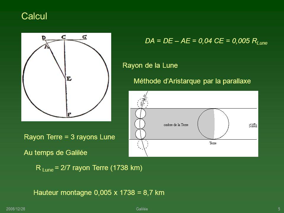 Calcul DA = DE – AE = 0,04 CE = 0,005 RLune Rayon de la Lune