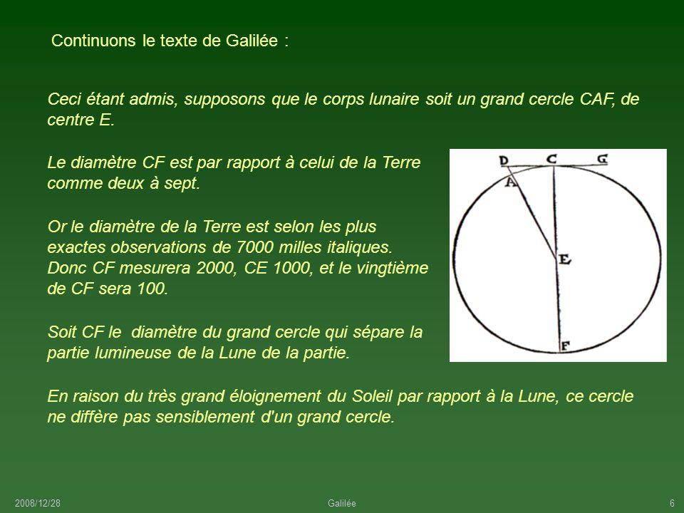 Continuons le texte de Galilée :