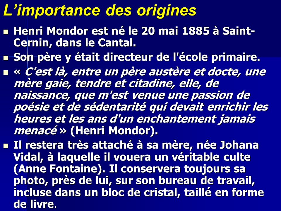 L'importance des origines