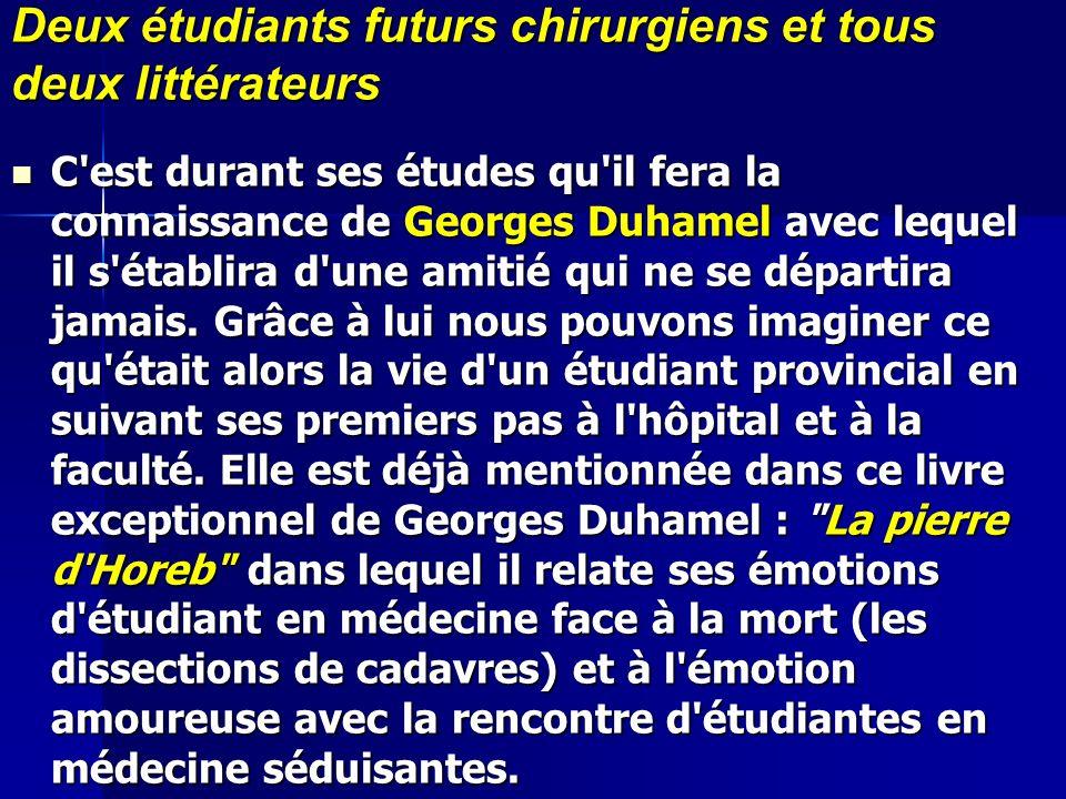Deux étudiants futurs chirurgiens et tous deux littérateurs