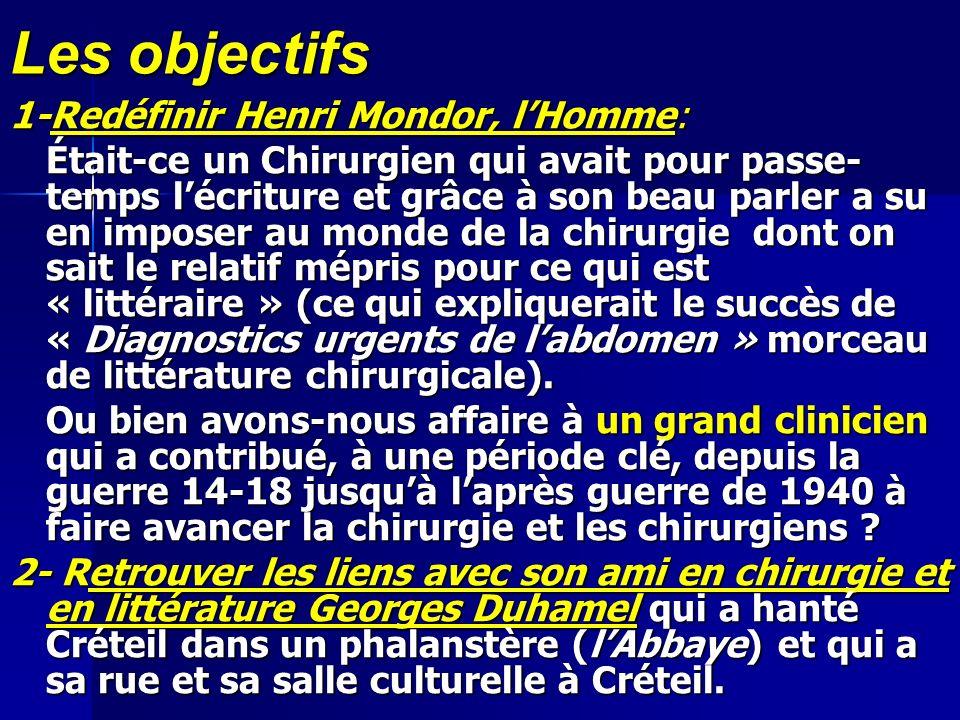 Les objectifs 1-Redéfinir Henri Mondor, l'Homme: