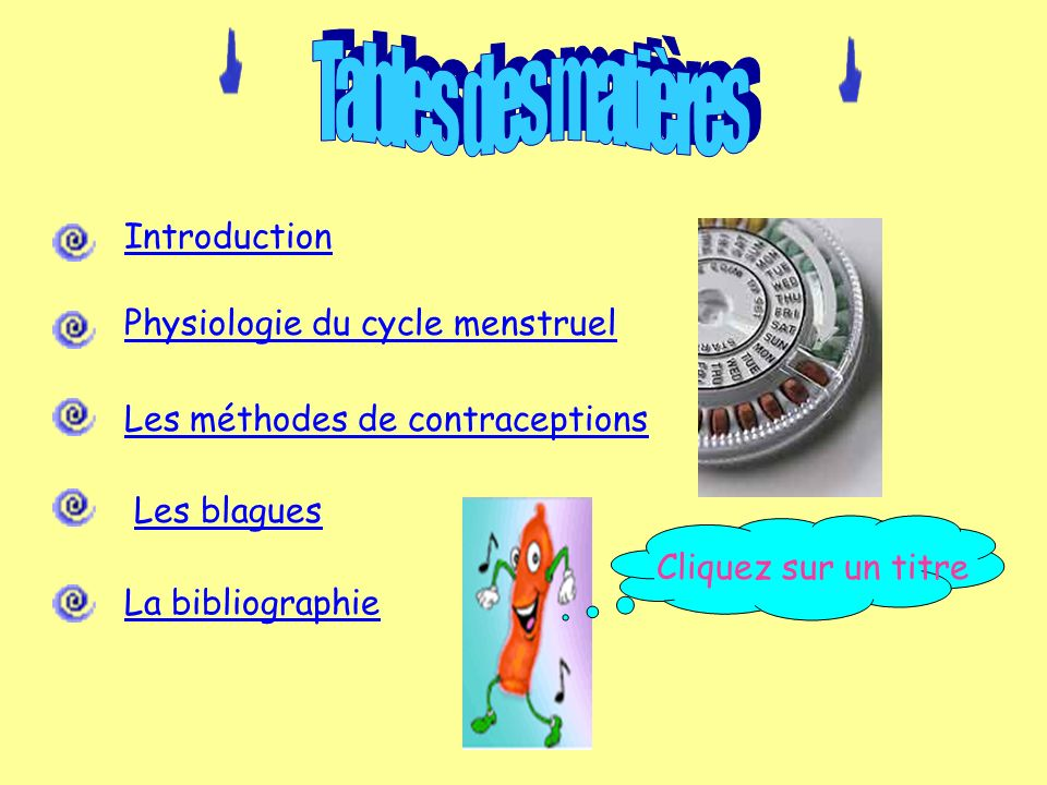 Tables des matières Introduction Physiologie du cycle menstruel