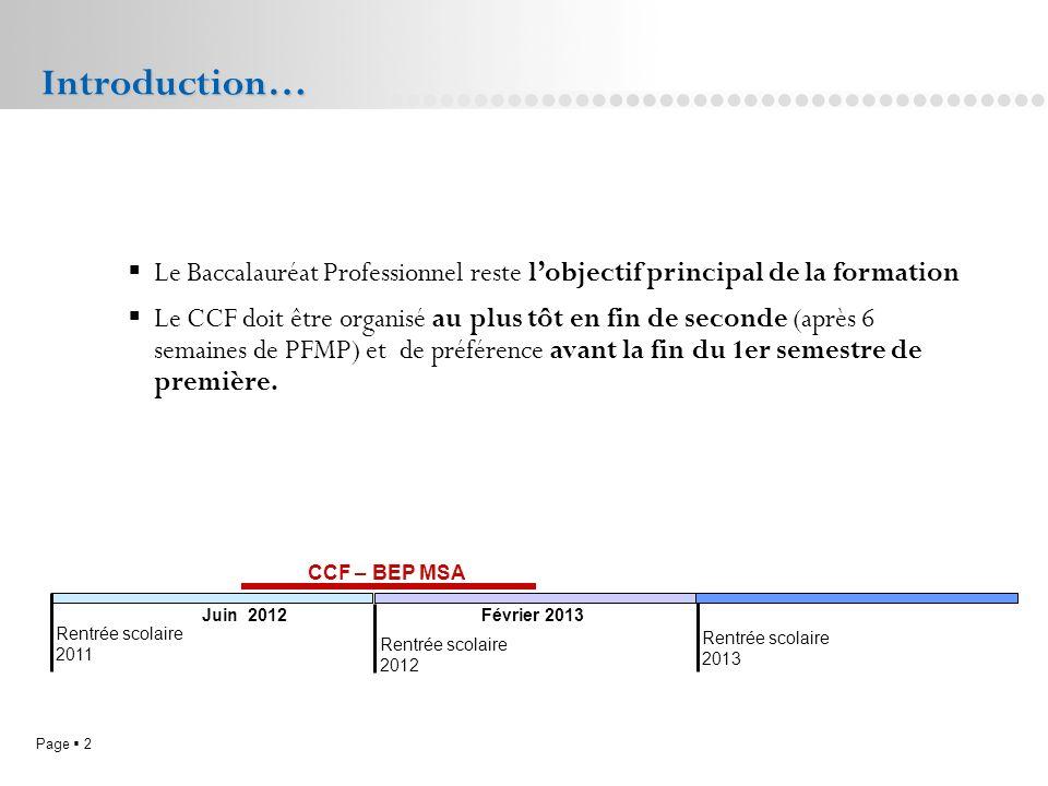 Introduction… Le Baccalauréat Professionnel reste l'objectif principal de la formation.