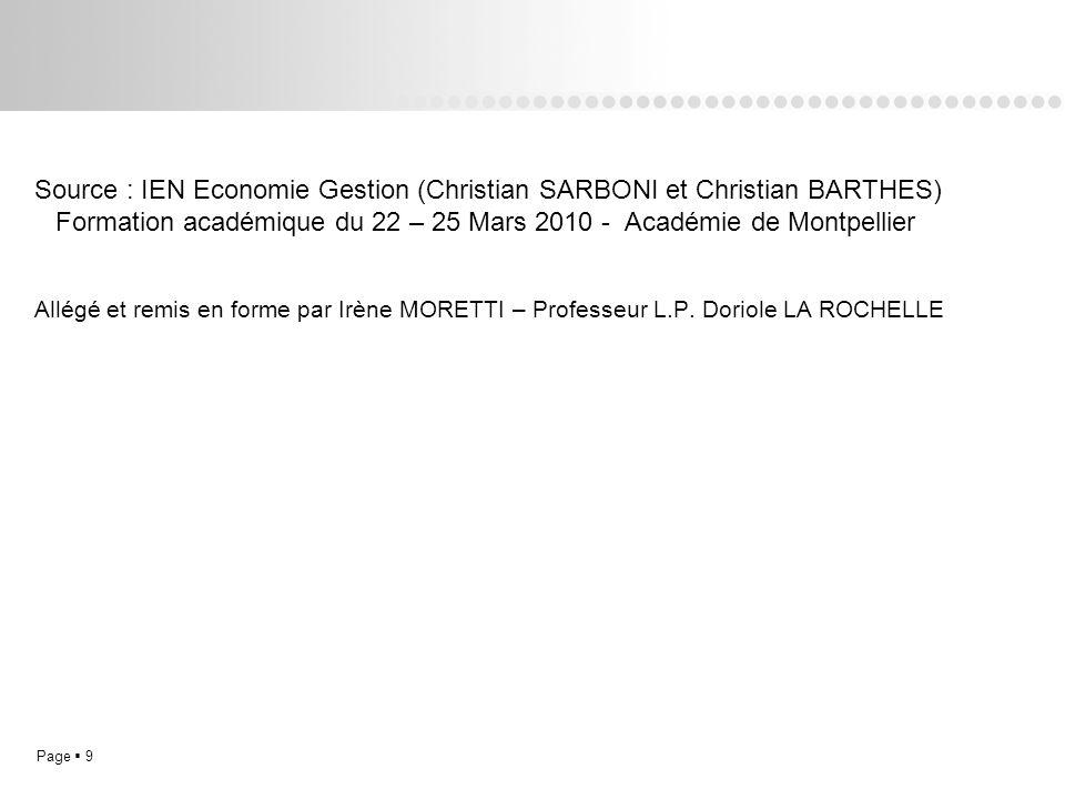Source : IEN Economie Gestion (Christian SARBONI et Christian BARTHES) Formation académique du 22 – 25 Mars 2010 - Académie de Montpellier