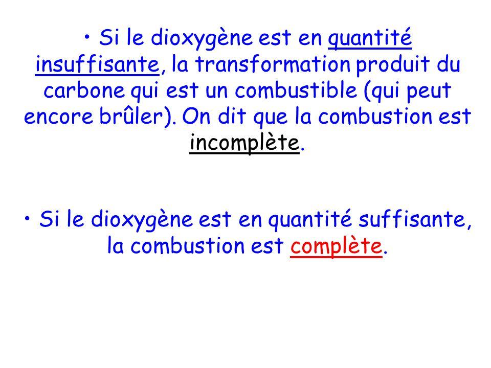 Si le dioxygène est en quantité insuffisante, la transformation produit du carbone qui est un combustible (qui peut encore brûler). On dit que la combustion est incomplète.