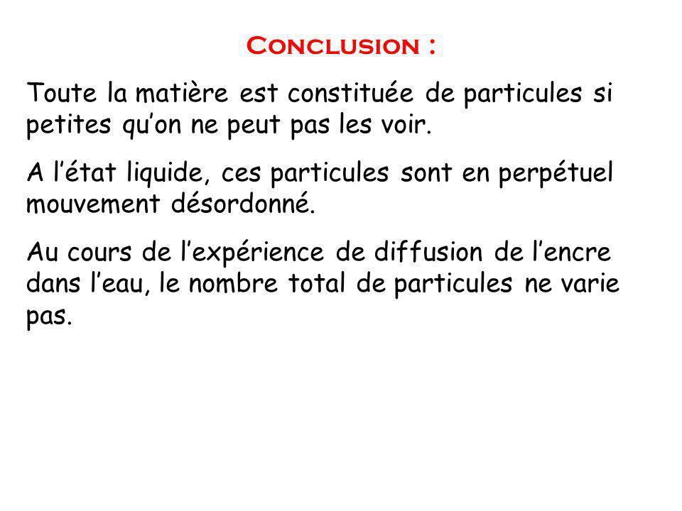 Conclusion : Toute la matière est constituée de particules si petites qu'on ne peut pas les voir.