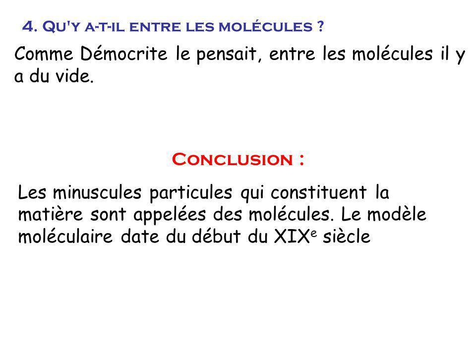 Comme Démocrite le pensait, entre les molécules il y a du vide.