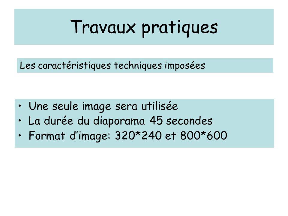 Travaux pratiques Une seule image sera utilisée