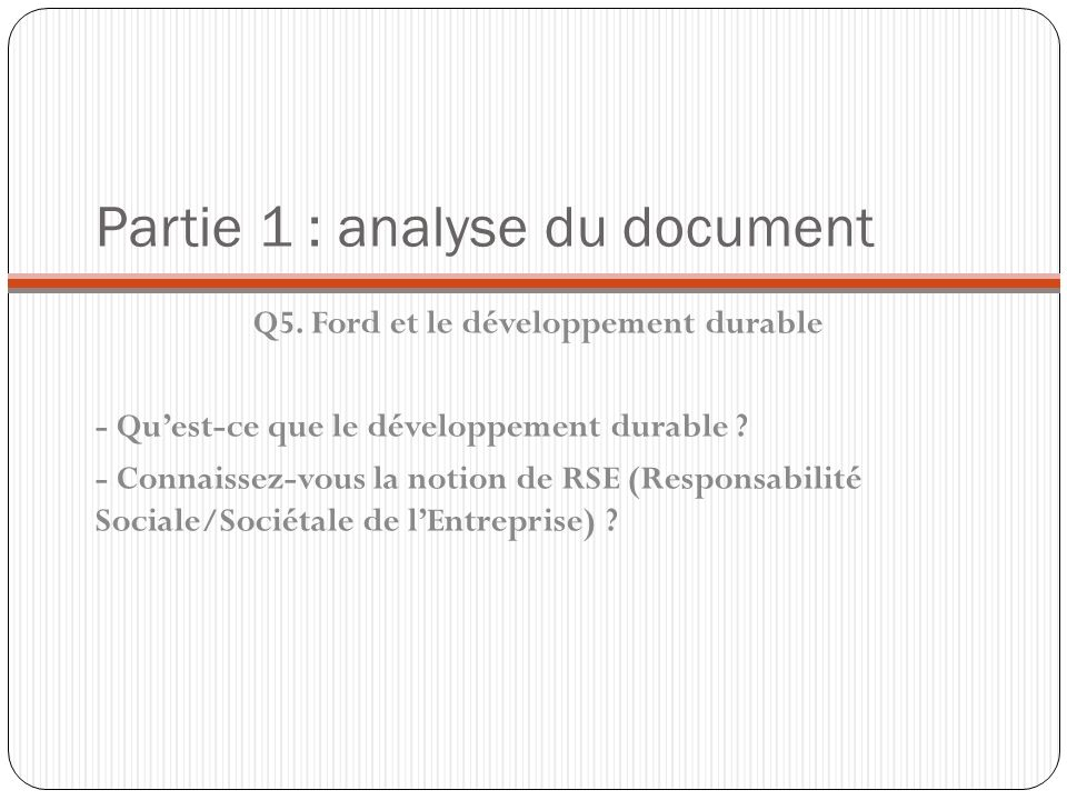 Partie 1 : analyse du document