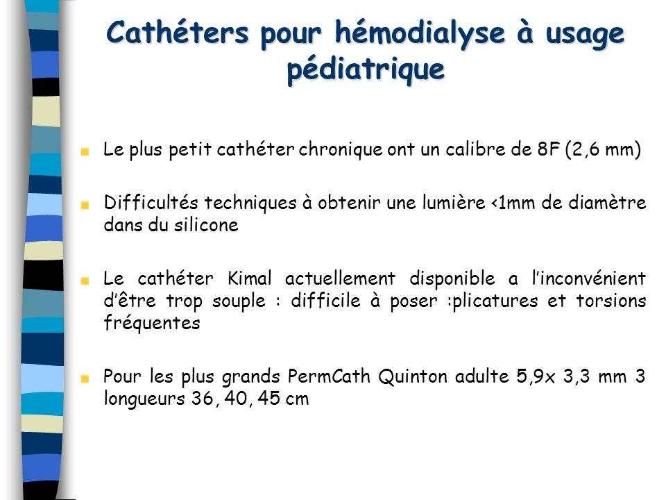 Cathéters pour hémodialyse à usage pédiatrique