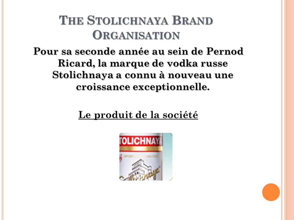 The Stolichnaya Brand Organisation