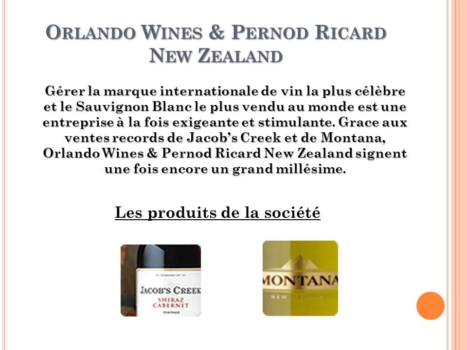 Orlando Wines & Pernod Ricard New Zealand