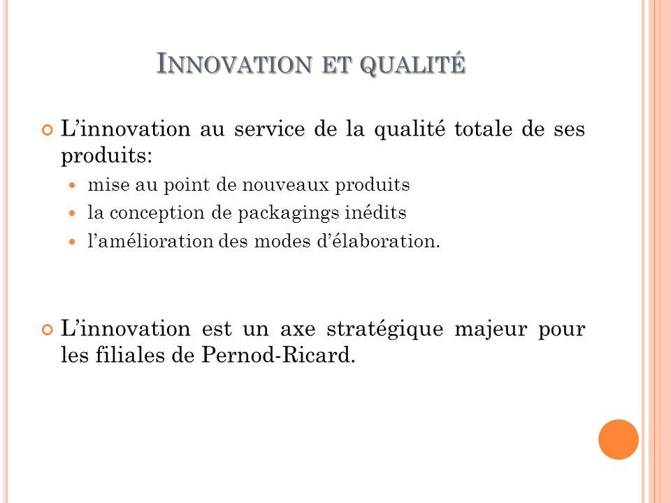 Innovation et qualité L'innovation au service de la qualité totale de ses produits: mise au point de nouveaux produits.