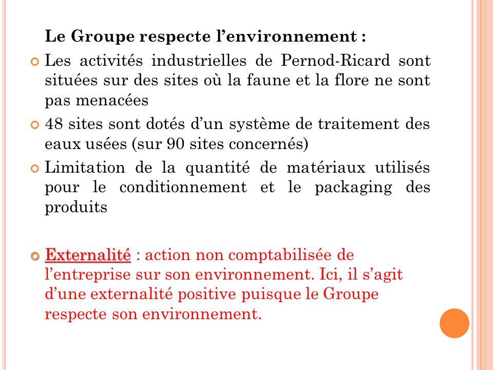 Le Groupe respecte l'environnement :