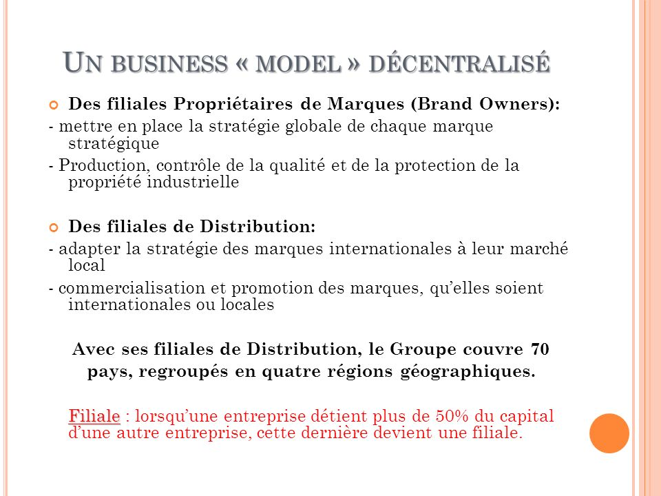 Un business « model » décentralisé