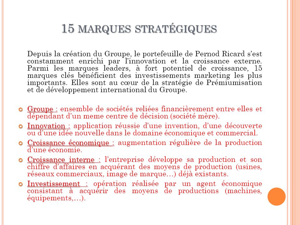 15 marques stratégiques