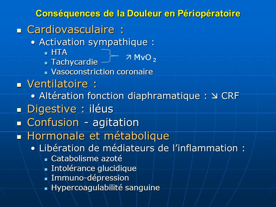 Conséquences de la Douleur en Périopératoire