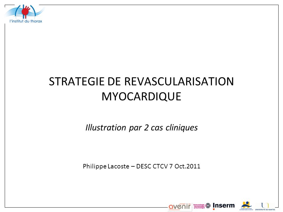 STRATEGIE DE REVASCULARISATION MYOCARDIQUE