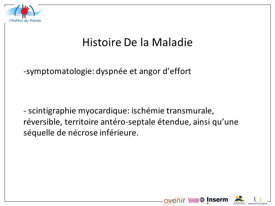 Histoire De la Maladie symptomatologie: dyspnée et angor d'effort