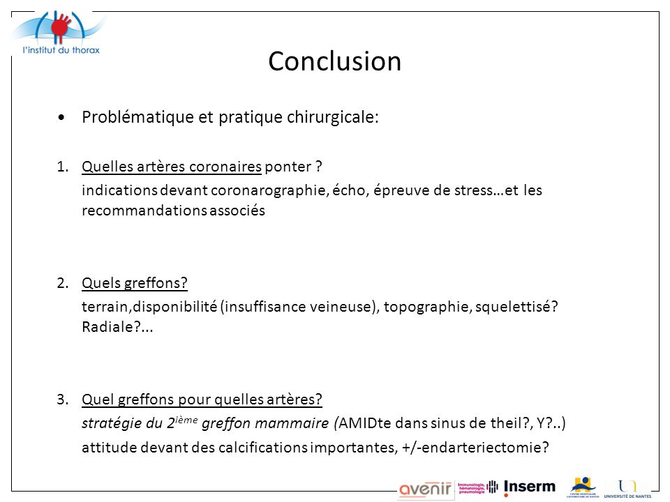 Conclusion Problématique et pratique chirurgicale: