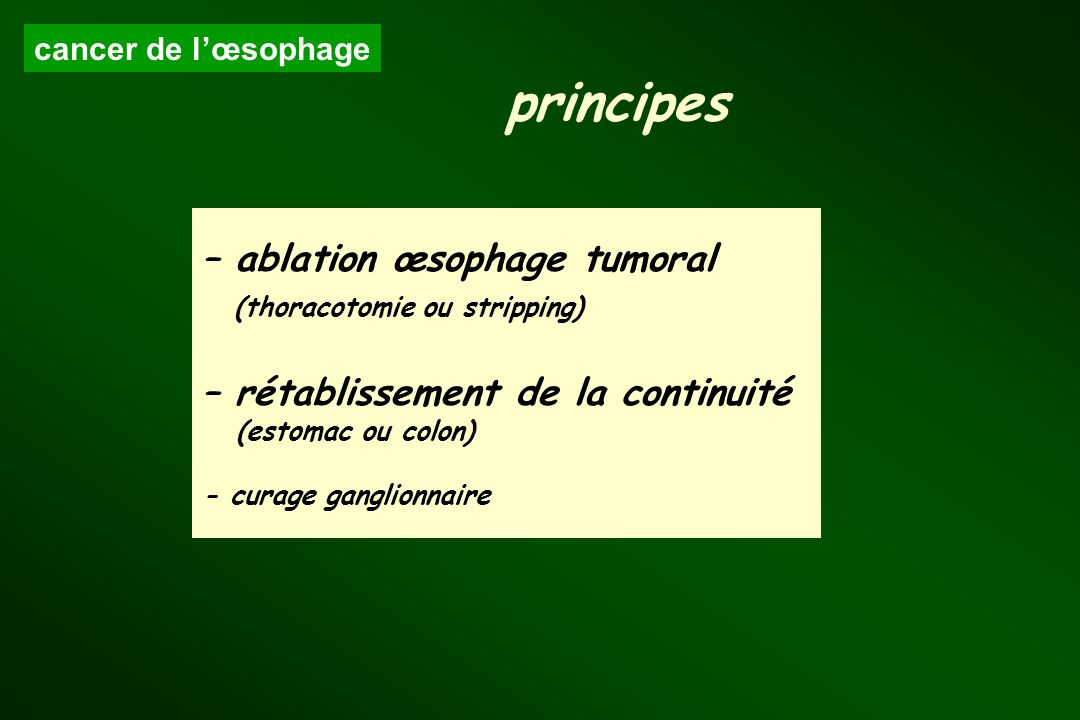 principes – ablation œsophage tumoral (thoracotomie ou stripping)