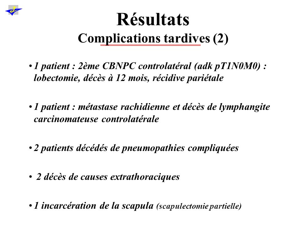 Résultats Complications tardives (2)