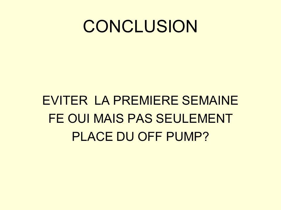 CONCLUSION EVITER LA PREMIERE SEMAINE FE OUI MAIS PAS SEULEMENT