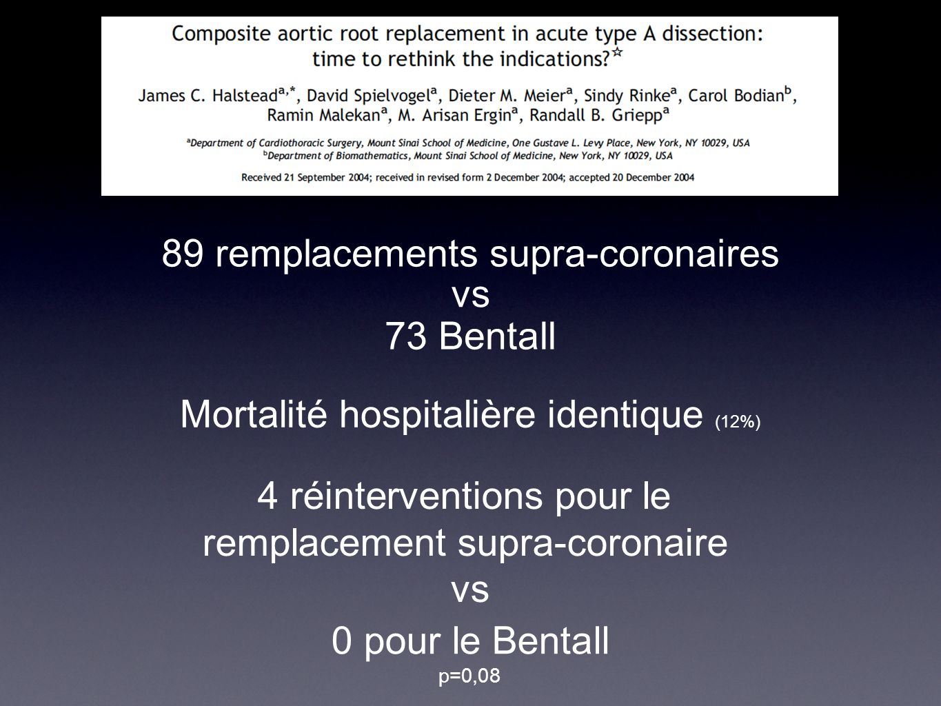 89 remplacements supra-coronaires vs 73 Bentall