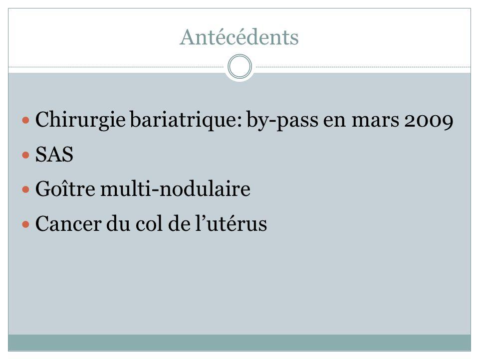 Antécédents Chirurgie bariatrique: by-pass en mars 2009 SAS