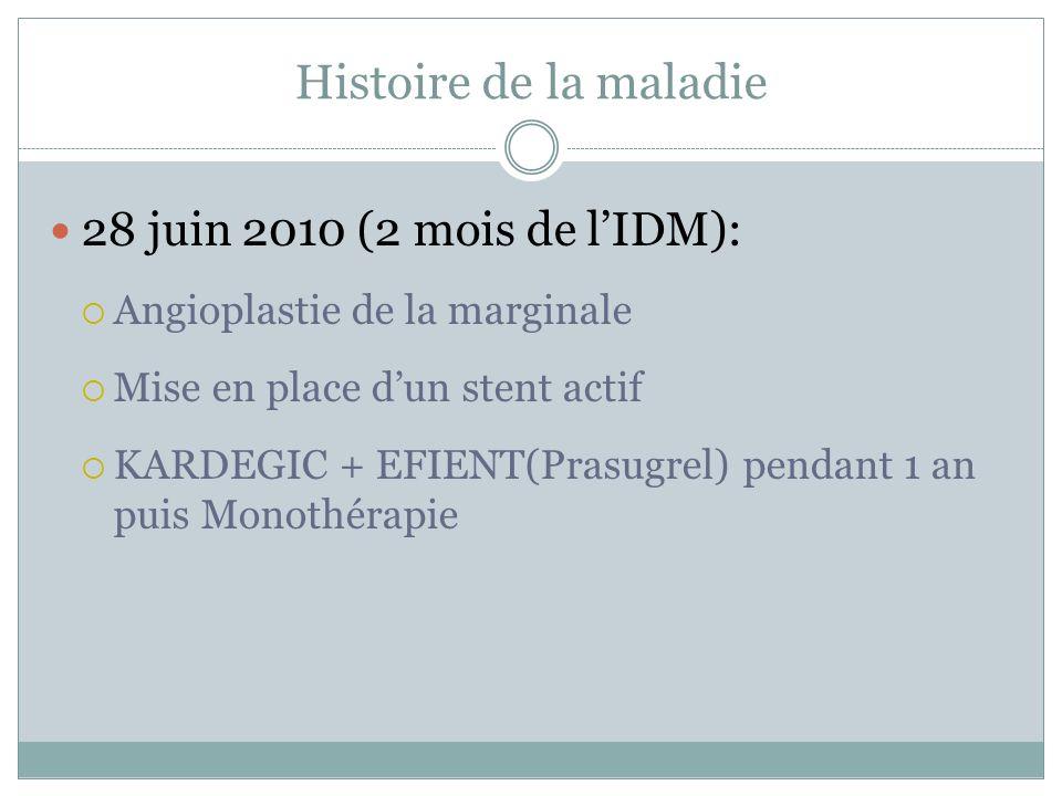 Histoire de la maladie 28 juin 2010 (2 mois de l'IDM):