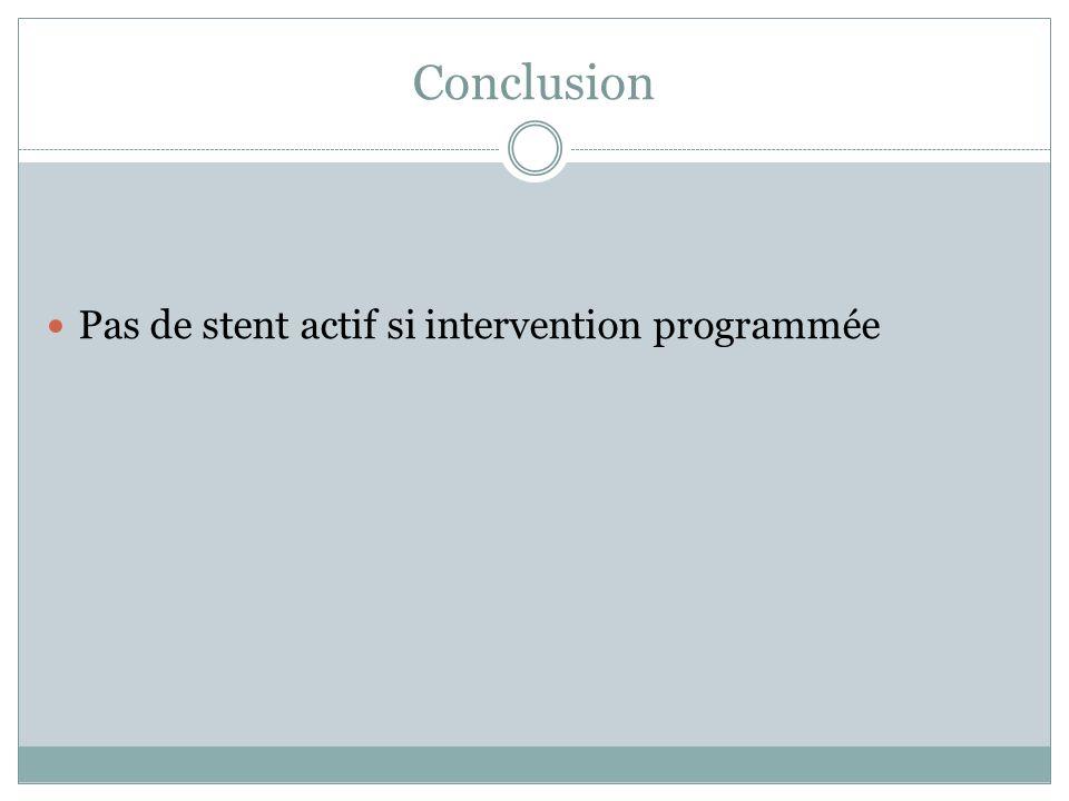Conclusion Pas de stent actif si intervention programmée