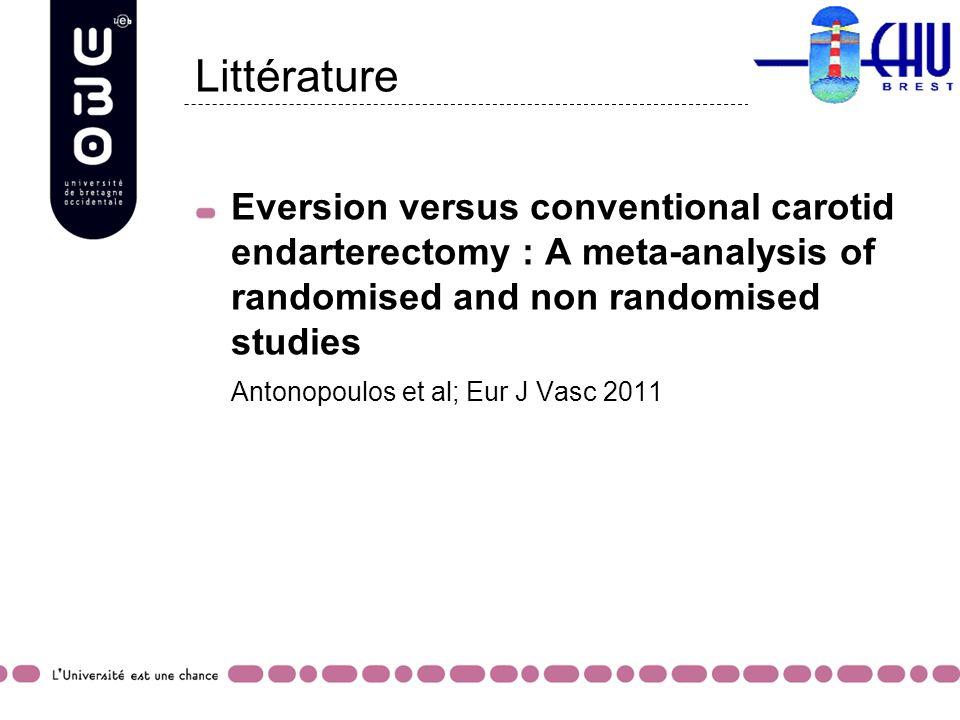 Littérature Eversion versus conventional carotid endarterectomy : A meta-analysis of randomised and non randomised studies.