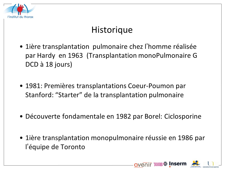 Historique 1ière transplantation pulmonaire chez l'homme réalisée par Hardy en 1963 (Transplantation monoPulmonaire G DCD à 18 jours)