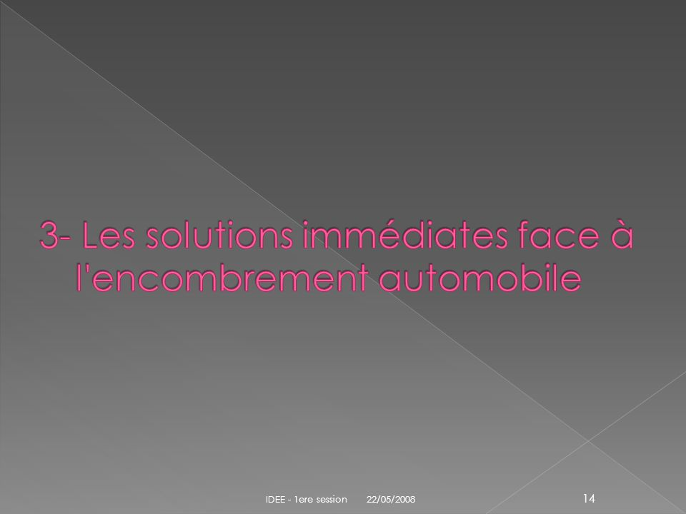 3- Les solutions immédiates face à l encombrement automobile