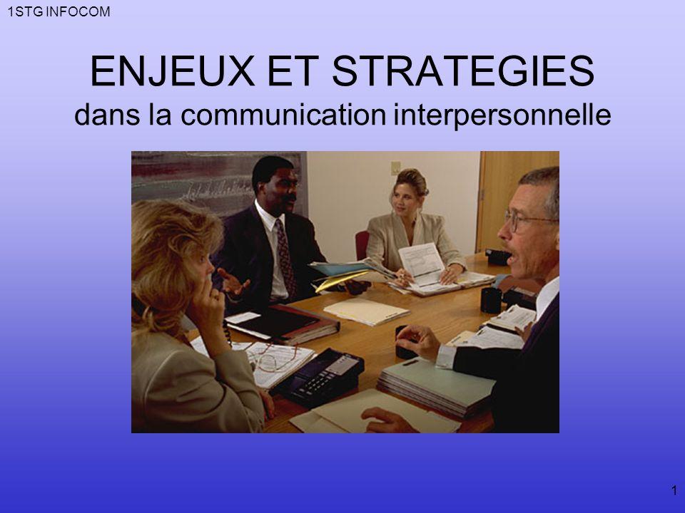 ENJEUX ET STRATEGIES dans la communication interpersonnelle