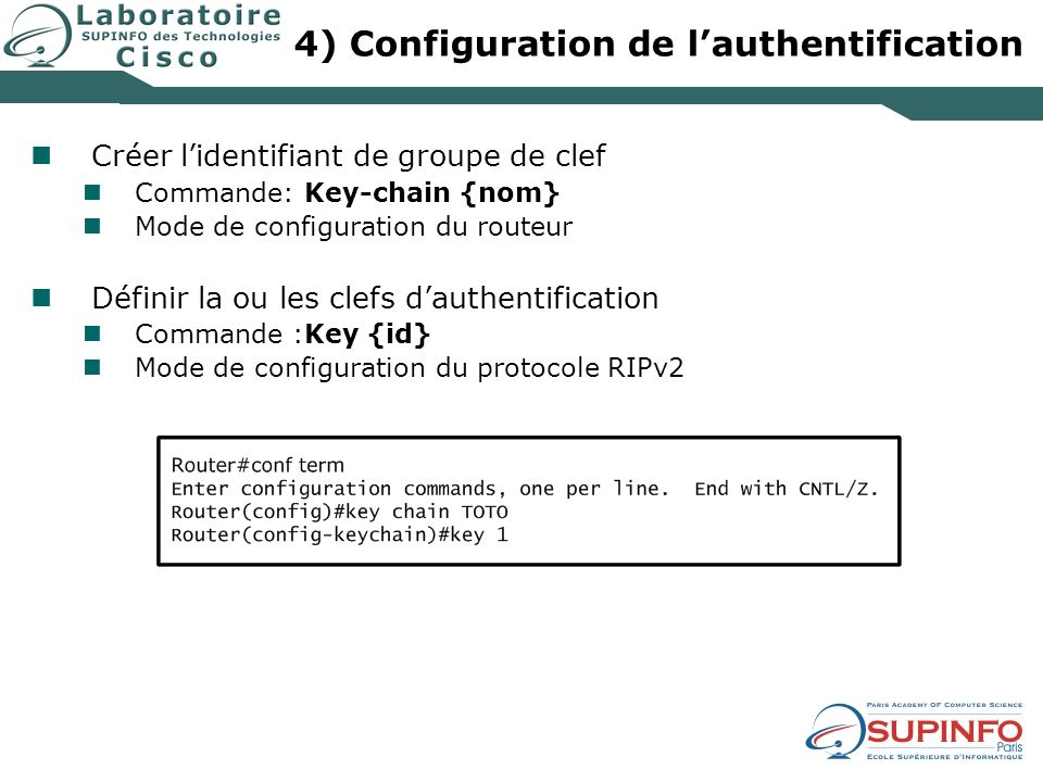 4) Configuration de l'authentification