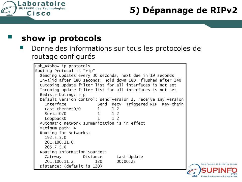 5) Dépannage de RIPv2 show ip protocols