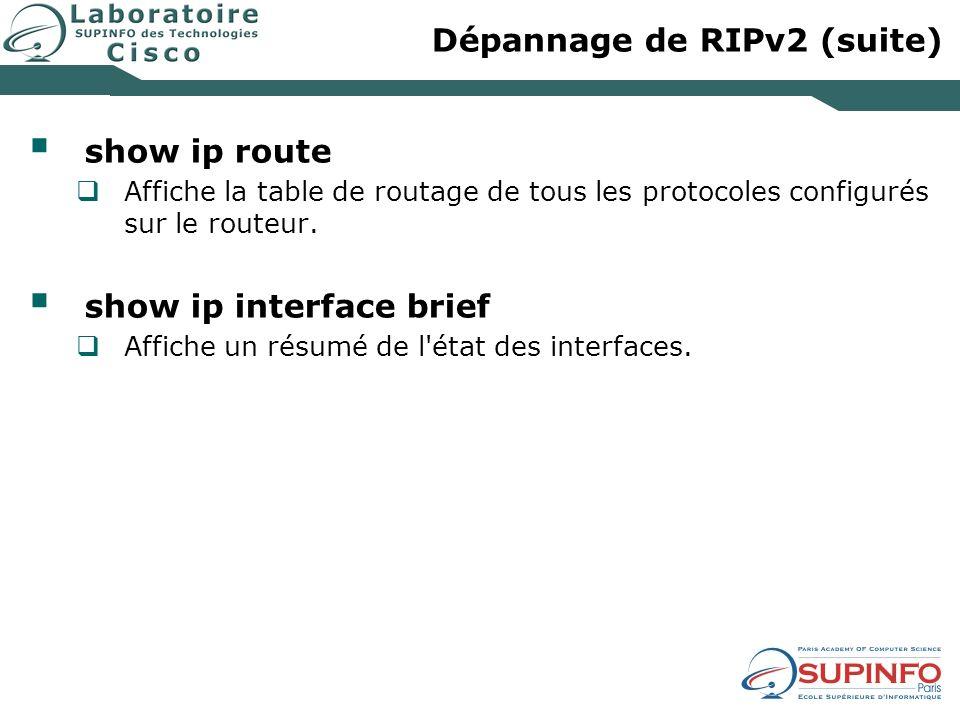 Dépannage de RIPv2 (suite)