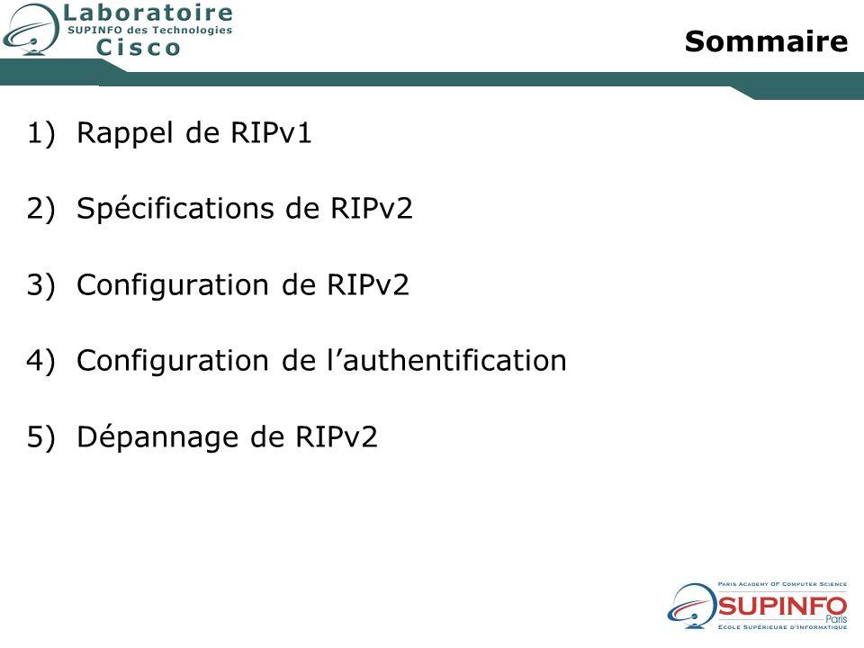 Sommaire Rappel de RIPv1 Spécifications de RIPv2