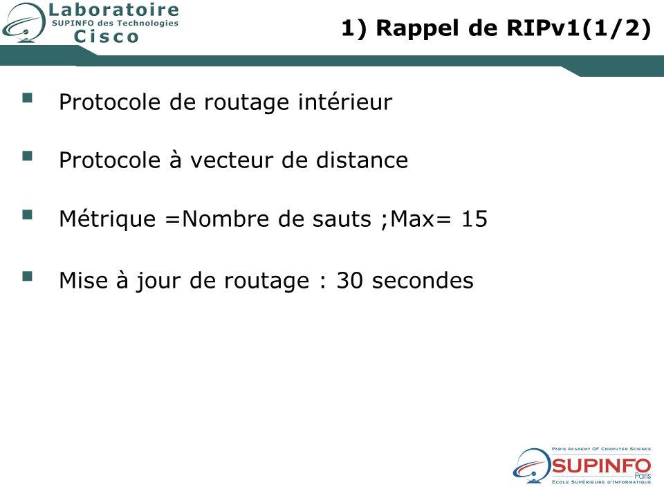 1) Rappel de RIPv1(1/2) Protocole de routage intérieur. Protocole à vecteur de distance. Métrique =Nombre de sauts ;Max= 15.