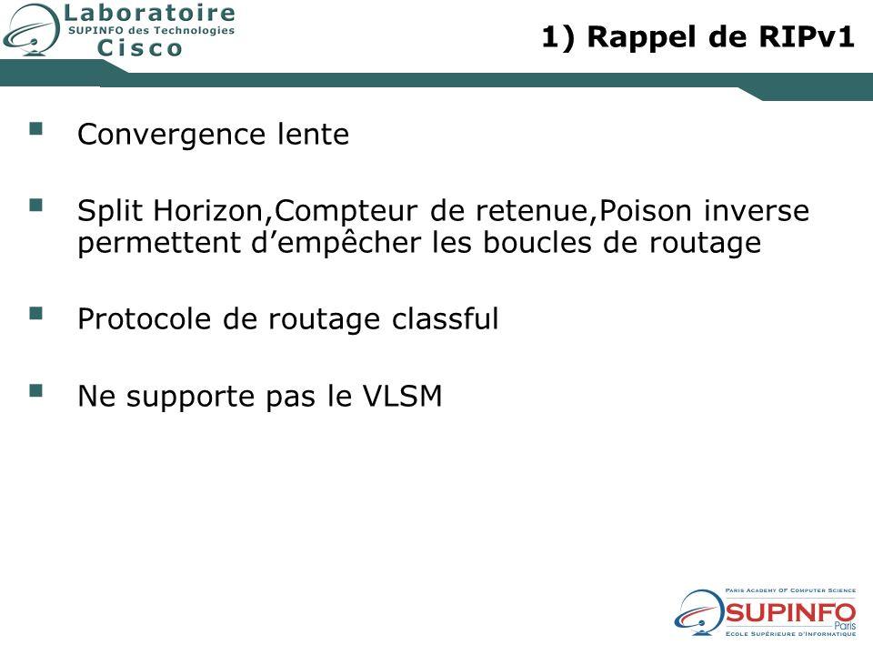 1) Rappel de RIPv1 Convergence lente. Split Horizon,Compteur de retenue,Poison inverse permettent d'empêcher les boucles de routage.