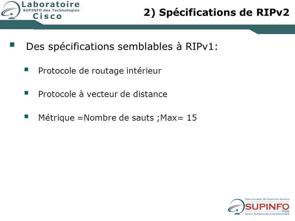 2) Spécifications de RIPv2