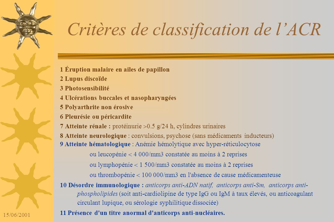 Critères de classification de l'ACR