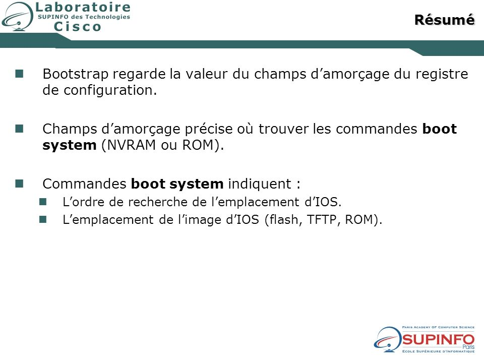 Commandes boot system indiquent :