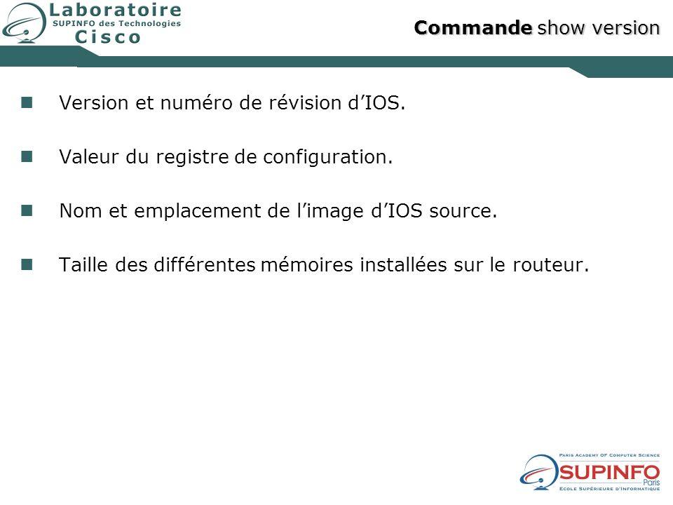Version et numéro de révision d'IOS.